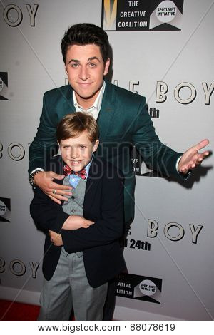 LOS ANGELES - FEB 14:  Jakob Salvati, David Henrie at the