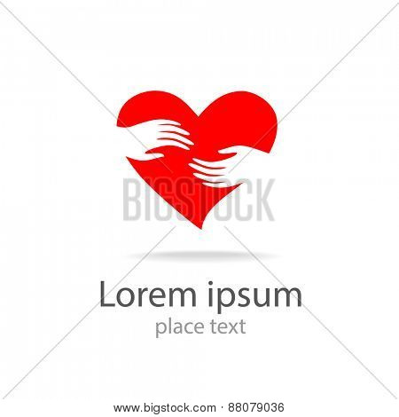 heart in hands - vector symbol, template for design logo
