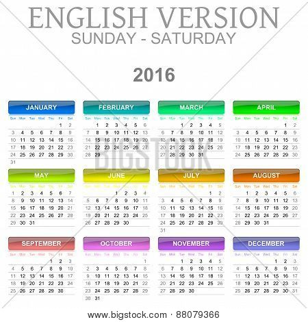 2016 Calendar English Language Version Sun – Sat