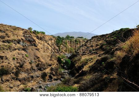 Dry River Bed Below Mountain
