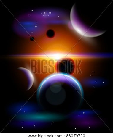 Magic Space - planetary system in the depths of the universe, stars and constellations, nebulae and galaxies. Vector illustration / Eps10