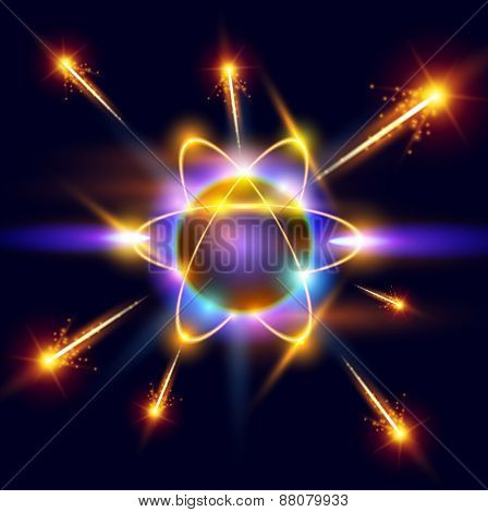 model of the atom and sparks around. Vector illustration / eps10