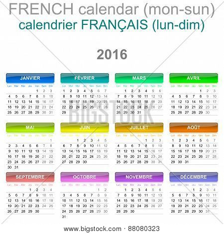 2016 Calendar French Language Version Mon - Sun