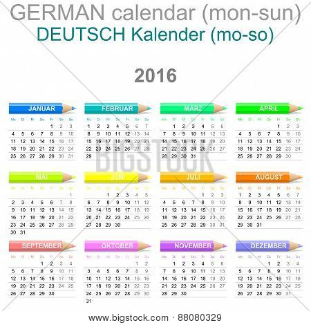 2016 Crayons Calendar German Version