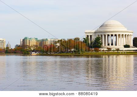Thomas Jefferson Memorial before sunset with reflection.