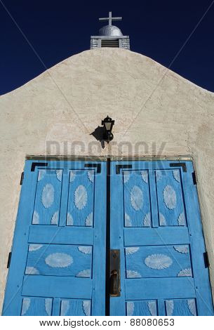 Blue Doors Of Mission-style Church In San Ysidro, New Mexico