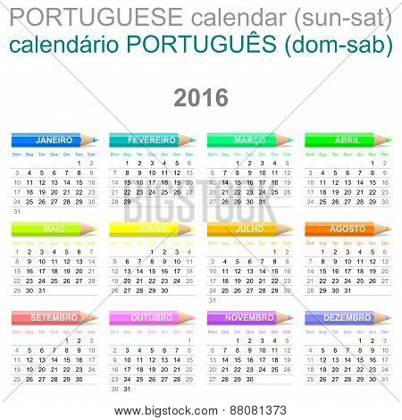 2016 Crayons Calendar Portuguese Version