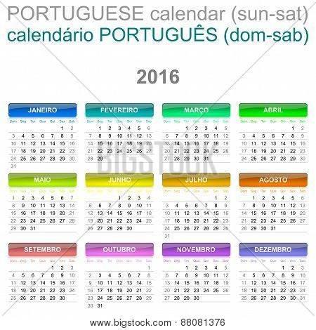 2016 Calendar Portuguese Language Version Sun – Sat