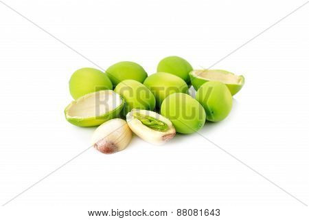 Lotus Seeds On White Background
