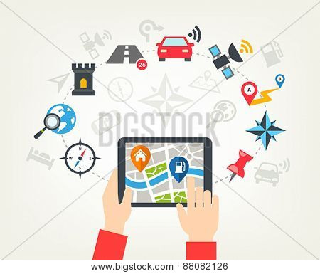 Navigation icons background - human hands holding a tablet and checking a map with navigation icons or a mobile app.