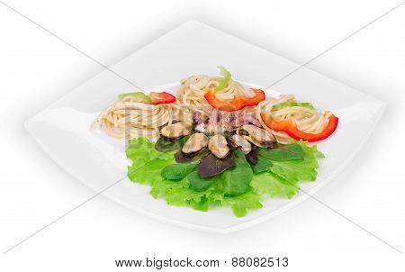 Tasty italian pasta with seafood as haute cuisine.