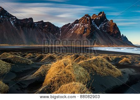 Sunset on the mountains and volcanic lava sand dunes by the sea in Stokksness, Iceland. The brown bushes are lavender plants desiccated in the winter but will flourish and bloom when spring comes.