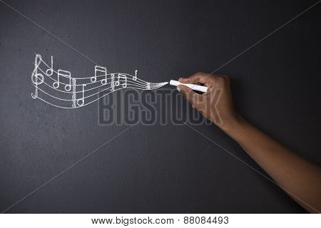 Learn Music South African Or African American Teacher Or Student With Chalk Background