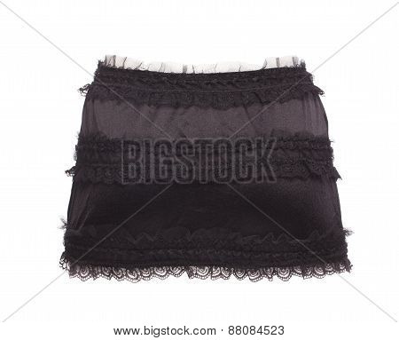 Black lingerie skirt. Back view.