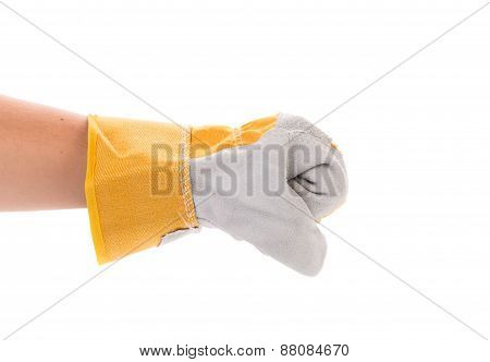 Worker hand glove clenching fist.