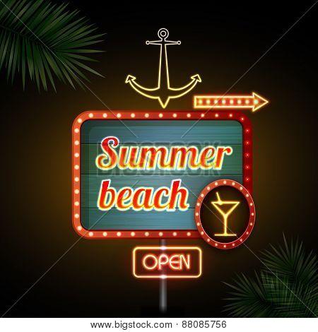 Neon Sign. Summer Beach