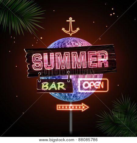 Neon Sign. Summer Bar
