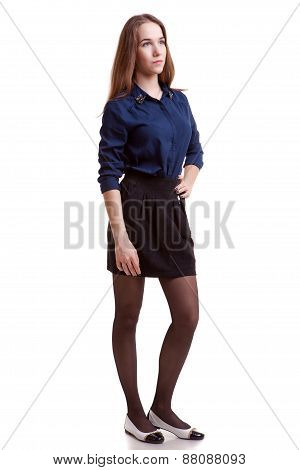 Young Girl Student Looking Away Full Body Isolated On White Background
