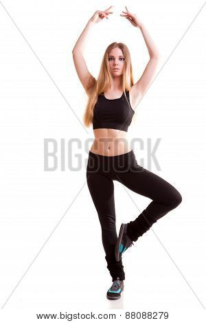Dancing Gilr In Pose Full Body Isolated Over White Background