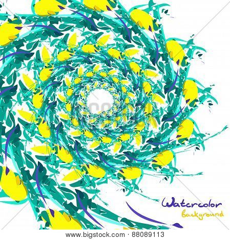 Background of abstract watercolor vegetative pattern with space