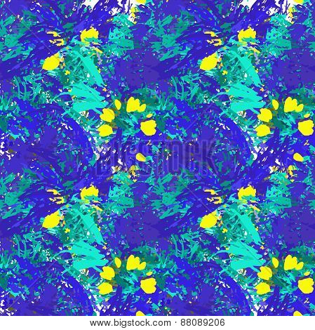 Textile seamless pattern of plants with texture blue watercolor