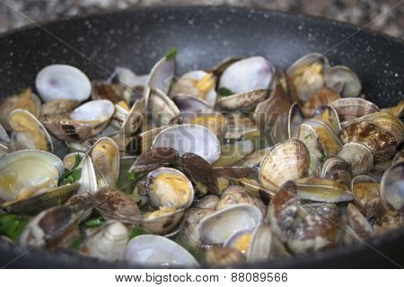 Clams In Pan