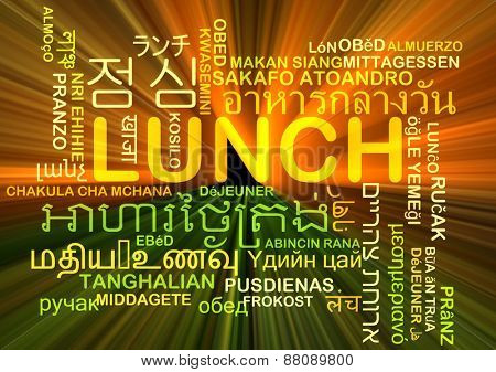 Background concept wordcloud multilanguage international many language illustration of lunch meal glowing light