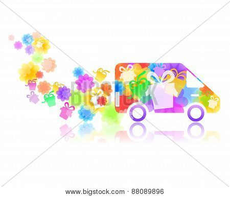 Symbol Of A Truck With A Gift Box
