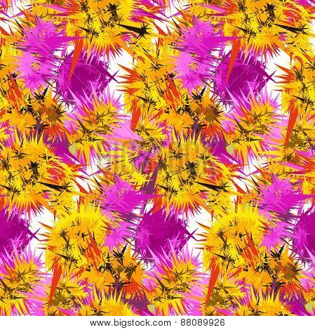 Textile seamless pattern of flowers with texture yellow watercol