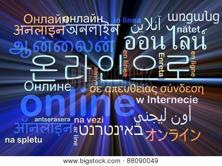 Background concept wordcloud multilanguage international many language illustration of online glowing light