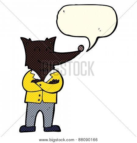 cartoon wolf in shirt with speech bubble