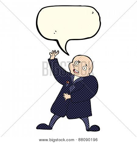 cartoon bald man with speech bubble