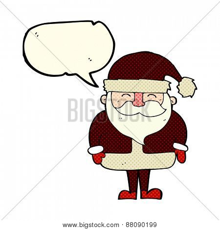 cartoon santa with speech bubble
