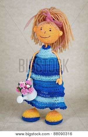 Knitted Doll In Blue Dress