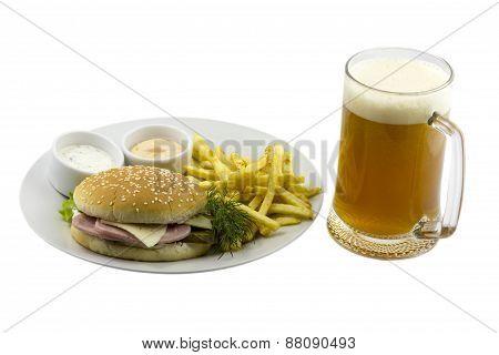 Mug of beer and a burger