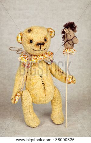 Old Fashioned Teddy Bear With Horse