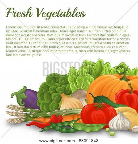 A lot of different vegetable with shadow on white background stylized like watercolor