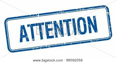 Attention Blue Square Grungy Vintage Isolated Stamp