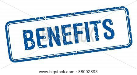 Benefits Blue Square Grungy Vintage Isolated Stamp