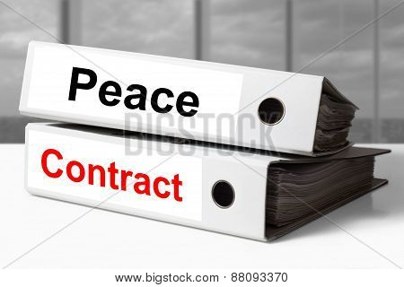 White Office Binders Peace Contract