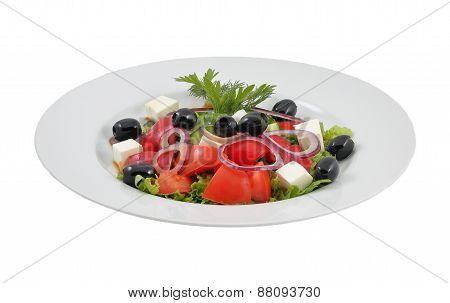 Salad with olives, sweet peppers and feta cheese