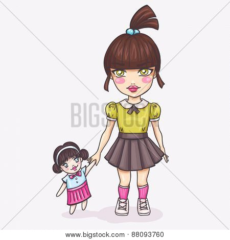 Cute girl with doll