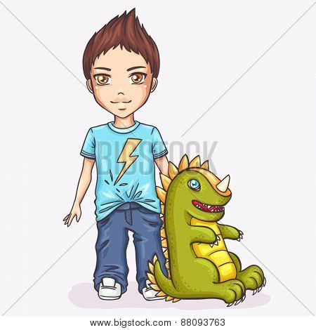 Cute boy with dinos