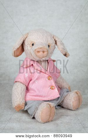 Portrait Of Old Fashioned Pink Pig