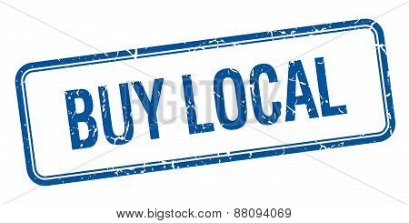 Buy Local Blue Square Grungy Vintage Isolated Stamp