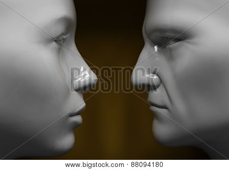 Man and woman face to face, close-up