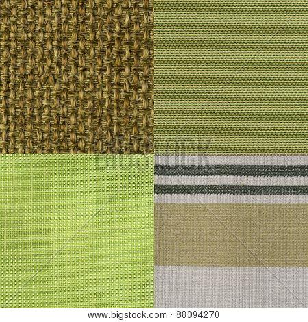 Set Of Green Fabric Samples