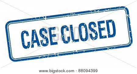 Case Closed Blue Square Grungy Vintage Isolated Stamp