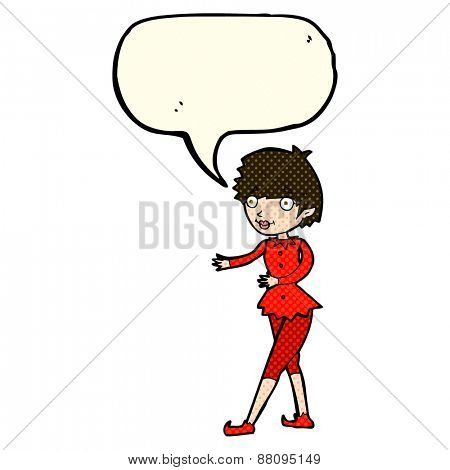 cartoon christmas elf woman with speech bubble