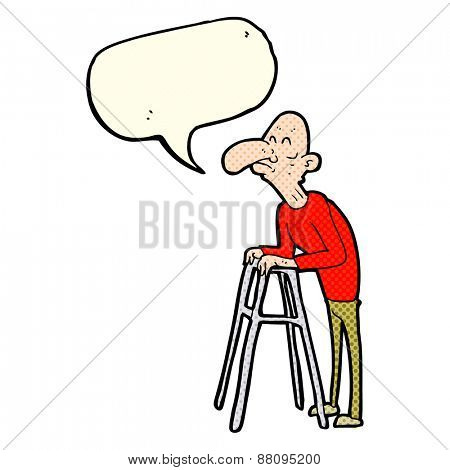 cartoon old man with walking frame with speech bubble